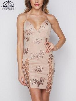 3d2158112afd Parthea oro rosa lentejuelas vestido de mujer de verano de 2019 correa de  cuello en V de malla de brillo vestido de fiesta de encaje Up Bodycon ...