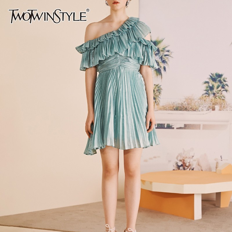 TWOTWINSTYLE Casual Solid Women Dress Off Shoulder Half Sleeve High Waist Mini Pleated Dresses Female Fashion