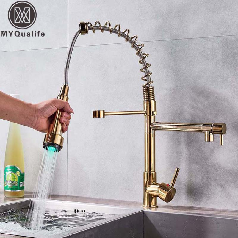 LED Color Changing Kitchen Faucet Golden Pull Down Dual Spout Hot Cold Kitchen Mixer Tap Handheld Led Light Kitchen Sprayer Head
