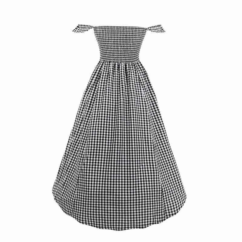 Клетчатое винтажное платье с открытыми плечами, женское сексуальное модное элегантное женское платье с высокой талией, шикарное школьное Повседневное платье средней длины