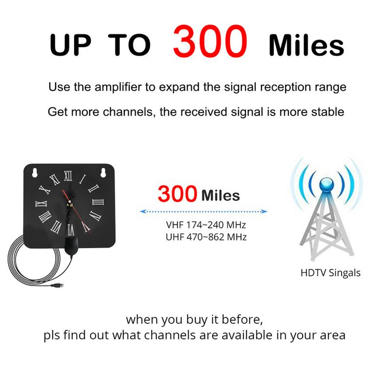 Image 4 - 300 Miles Indoor Digital TV Antenna 1080p HD Signal Receiver Amplifier Alarm Clock Style with Signal Amplifier Booster-in TV Antenna from Consumer Electronics