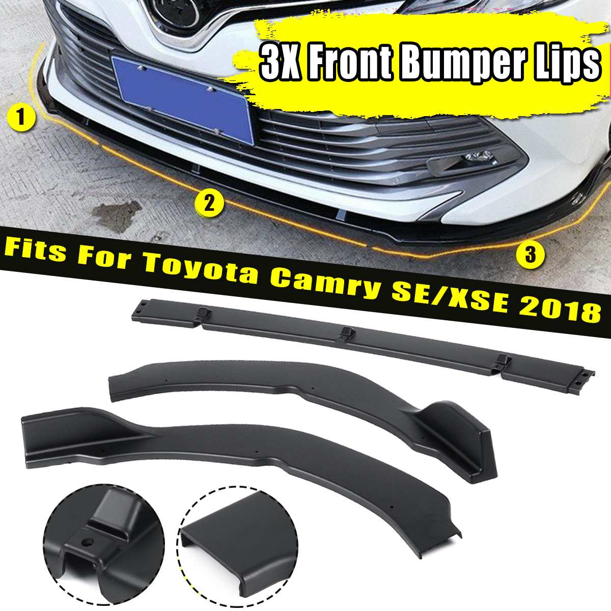 For Toyota Camry SE XSE 2018 Gloss Black Front Bumper Lip Cover Trim Front Deflector Spoiler