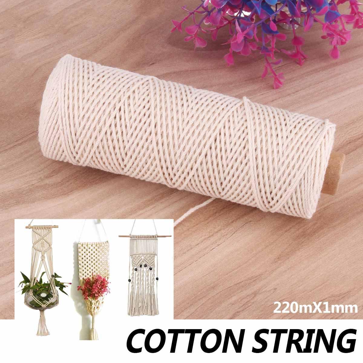 00eda9da0547 220 M cuerda trenzada de algodón Natural artesanía macramé artesanía cuerda  hecha a mano atar ...