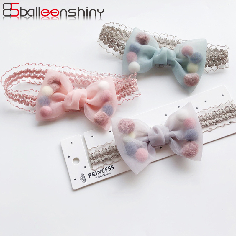 BalleenShiny Princess Baby Girls Headband Elastic Bowknot Plush Ball Beauty Headdress Child Kids Headwear Hair Accessories Gifts