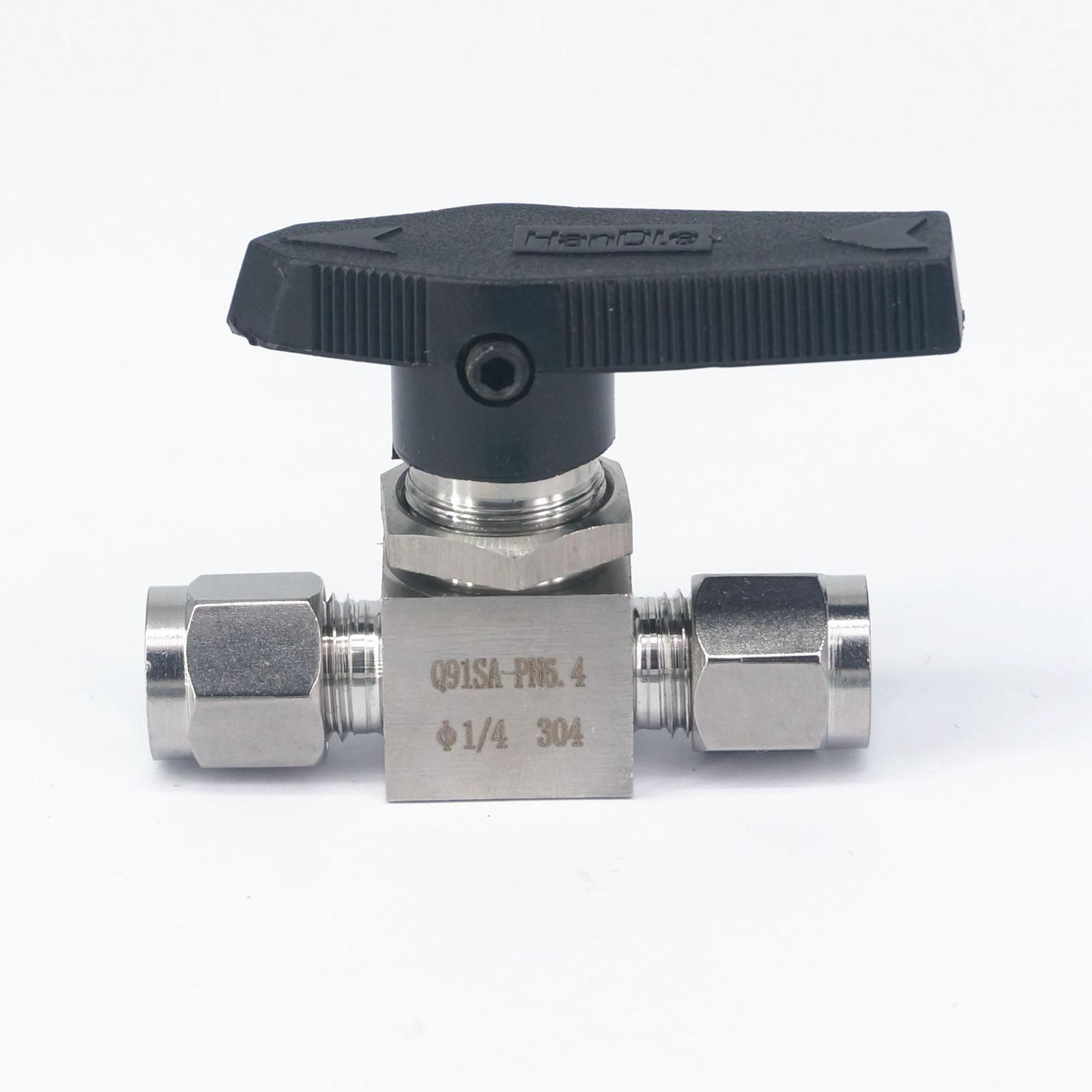 304 Stainless Steel Compression fitting shut off <font><b>Ball</b></font> <font><b>Valve</b></font> 915 PSI Q91SA PN 6.<font><b>4</b></font> Fit For <font><b>1</b></font>/<font><b>4</b></font>