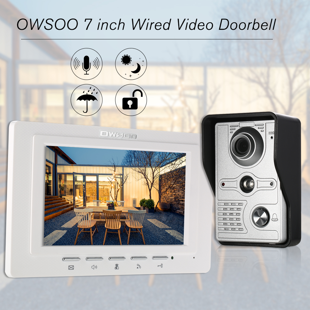 OWSOO 7 inch Wired Video Doorbell Indoor Monitor Rainproof Camera Visual Intercom Two way Audio Remote