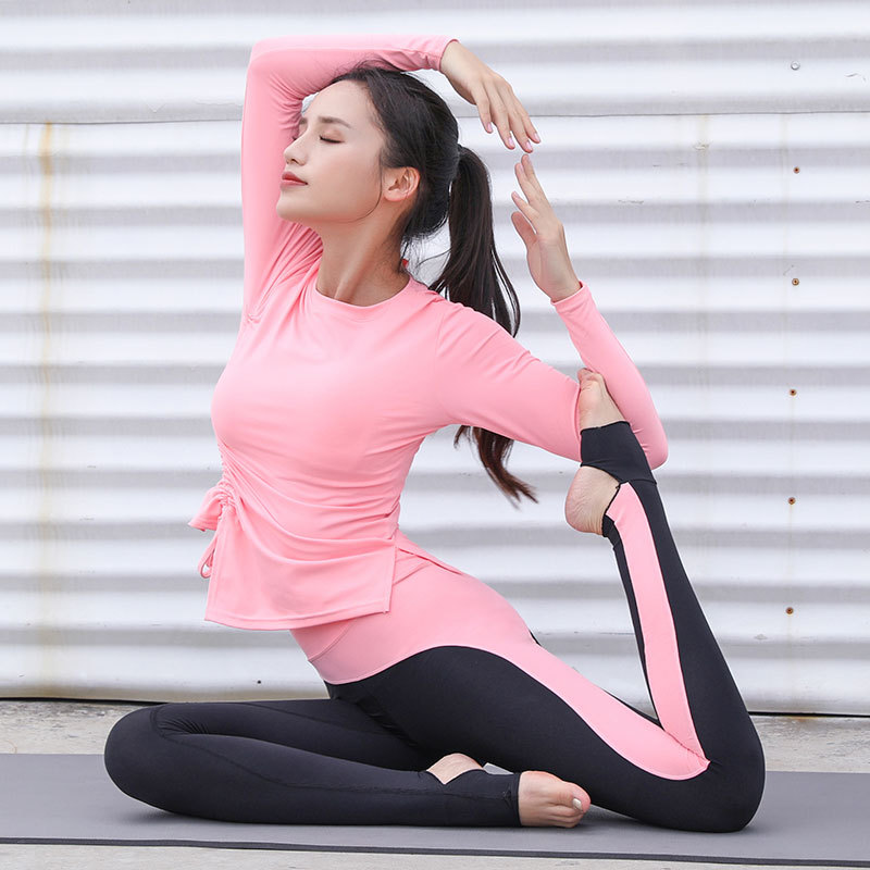 Long Sleeve Sport Leggings Suit Solid Gym Workout Sportswear 2pcs/Set Sports Tops + High Waist Fitness Pants Yoga Sports Sets