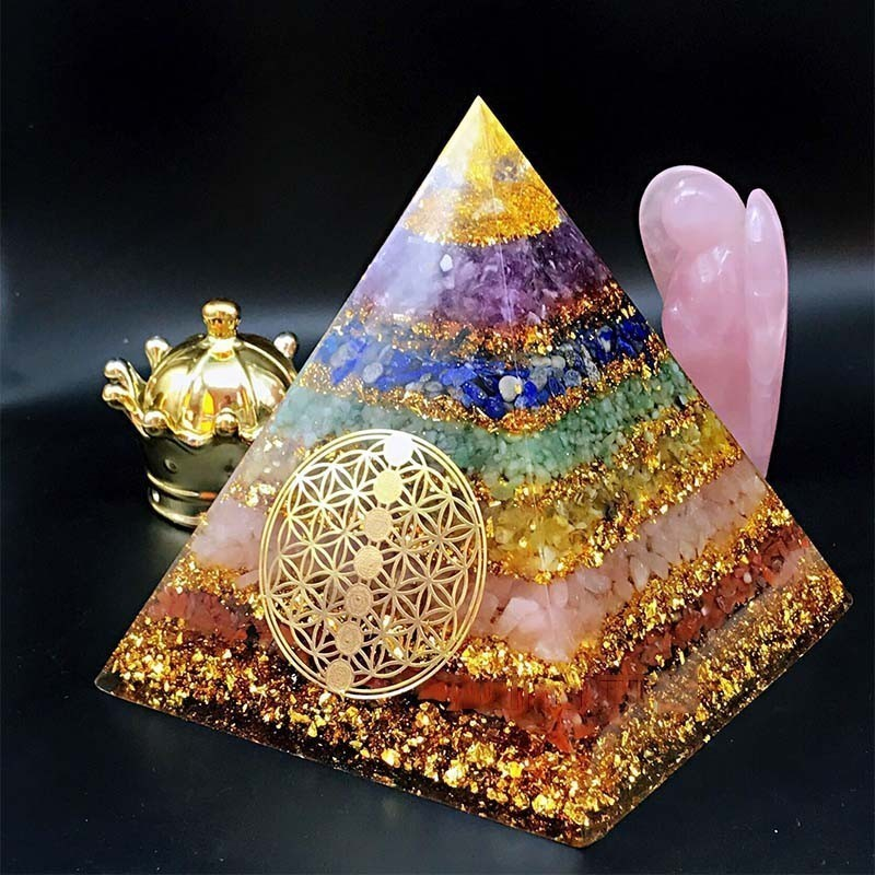 Orgonite Seven Chakra Energy Pyramid Aura Divination Supplies Yoga Meditation Ornaments Resin Craft EMF Protection Lucky Stone
