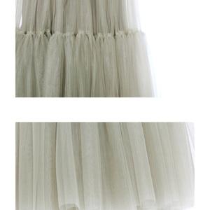 Image 5 - [[EAM] 2020 Mới Mùa Xuân Hè Cao Co Giãn Xanh Chia Phần Lớn Lưới Đường Kẻ Nửa Váy thời Trang Nữ Triều JS221