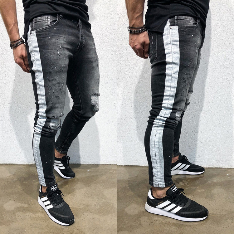 2019 New Fashion Knee Hole Side Stripe Scratched Jeans Men Ripped Tore Up Streetwear Hiphop Slim Skinny Denim Pants For Male