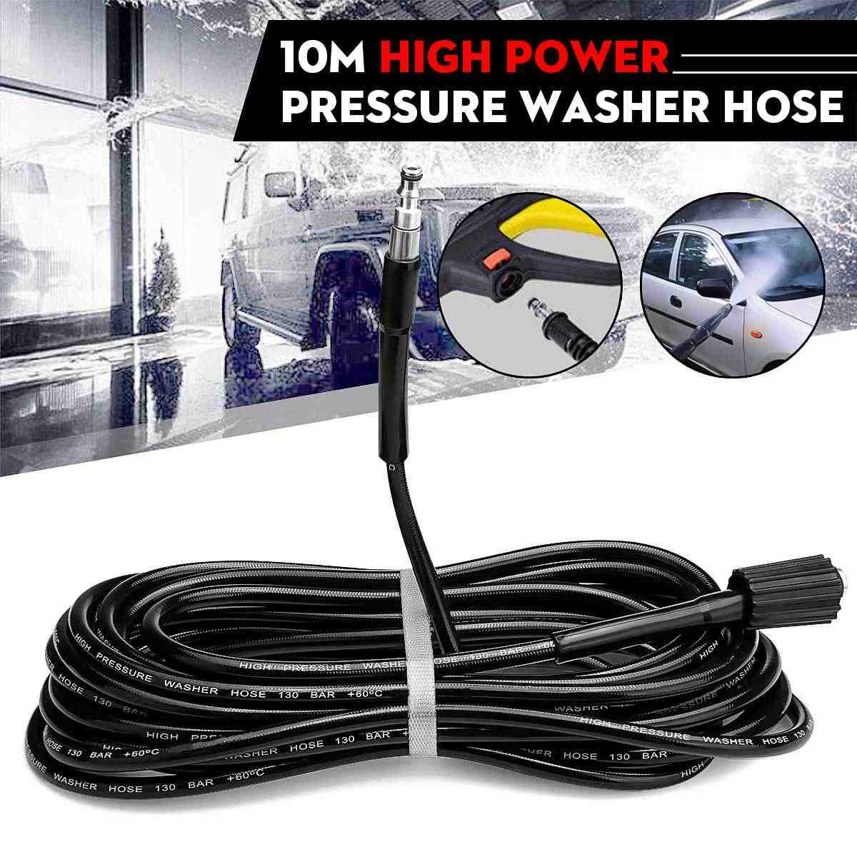 10M Steel Wire High Pressure Washer Hose  Automobiles Black 130Bar Washing Machine Car Wash Cleaning Accessories Tools For VAX