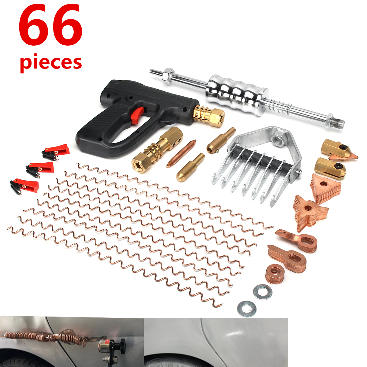 купить 66Pcs/Set Dent Repair Puller Kit Car Tools Hand Body Spot Guns Mini Welding Machine Auto System Spotter Fix Clamp Hammer Removal по цене 6340.77 рублей
