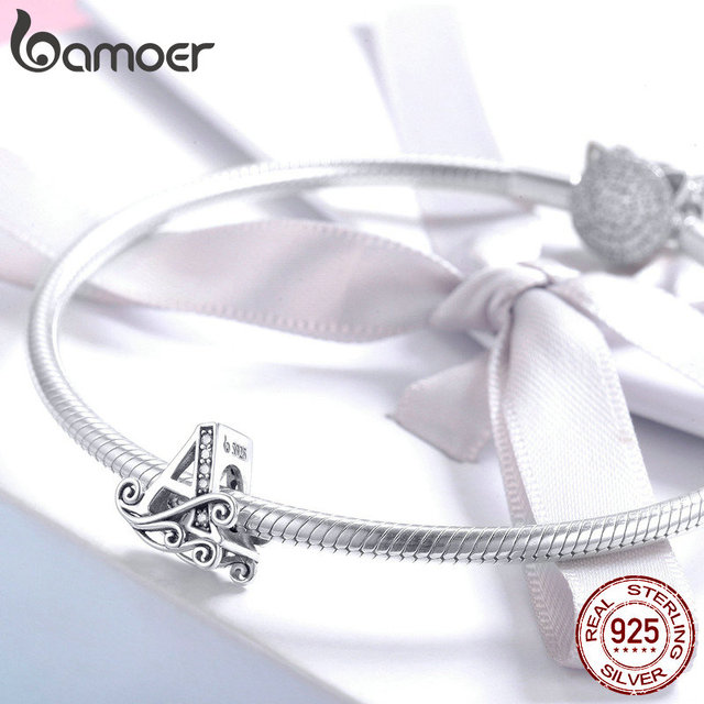 BAMOER 2019 NEW 925 Sterling Silver Vintage A to Z Clear CZ 26 Letter Alphabet Bead Charms Fit Bracelets DIY Jewelry BSC030 4