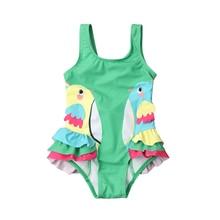 Toddler Kid Baby Girls Cartoon Birds Ruffle One Piece Bikini Swimwear Swimsuit Beach Bathing Suit bikini 2017 one piece swimsuit swimwear kid baby maillot de bain toddler bathing suit girls halter beach with headband mar22yp