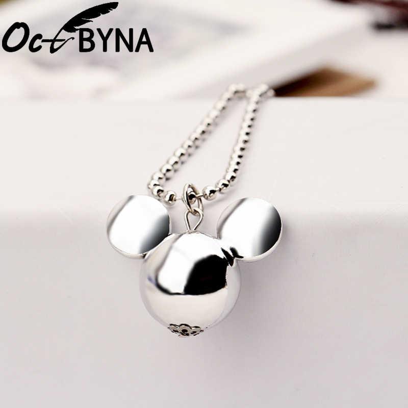 Octbyna แฟชั่นสีเงินยาวส่วนเสื้อกันหนาวการ์ตูน Mickey หัวจี้ยี่ห้อสร้อยคอผู้หญิงเครื่องประดับเด็ก