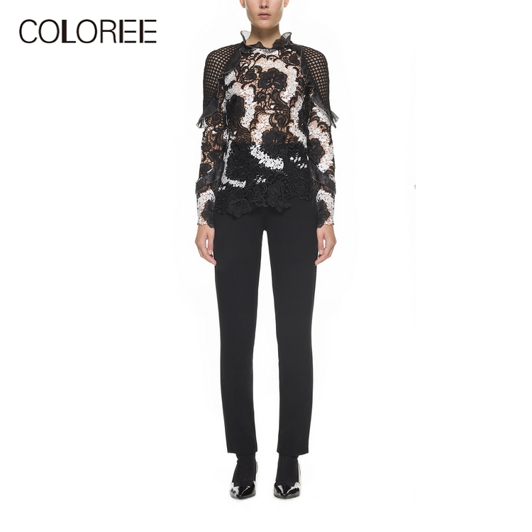 Self Portrait Designer White Black Patchwork Tops 2019 Spring Sexy Ruffles Long Sleeve Hollow Out Lace Blouses Womens