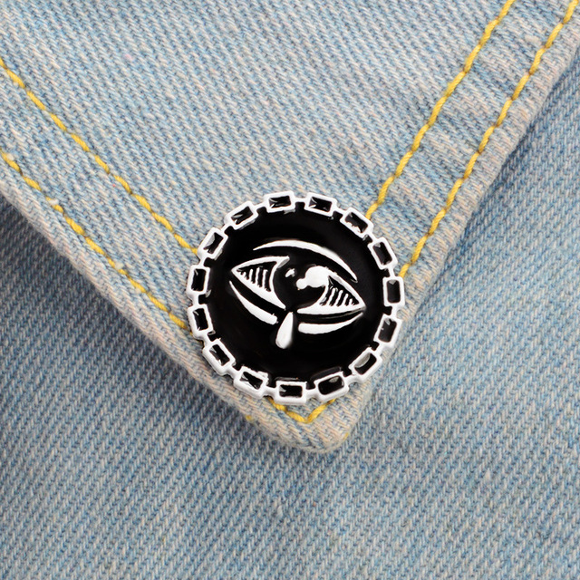 US $0 94 |Black Tear Eye Brooches Badges Hats Purses Backpacks Scarves  Display Boards Pin Collection Black Dark Punk Pins Fashion Jewelry-in  Brooches