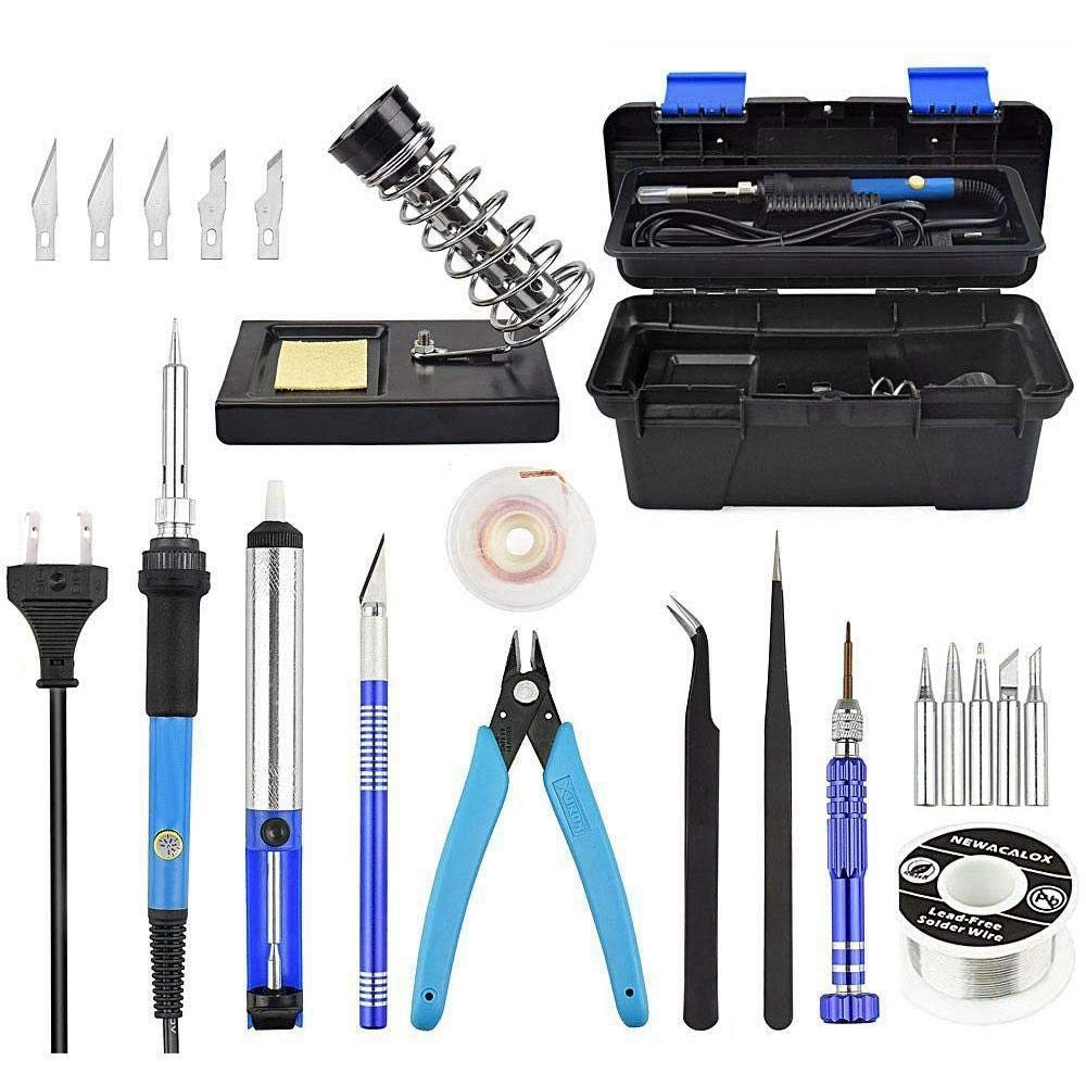 SNNY NEW 60W Adjustable Temperature Electrical Soldering Iron Kit SMD Welding Repair Tool Set Tool Box 25pcs/lot