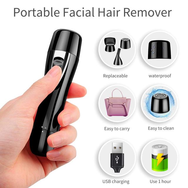 Mini Portable Hair remover/Painless Facial Hair Removal/Rechargeable Nose&Eyebrow Bikini Trimmer/Electric Shaver 1