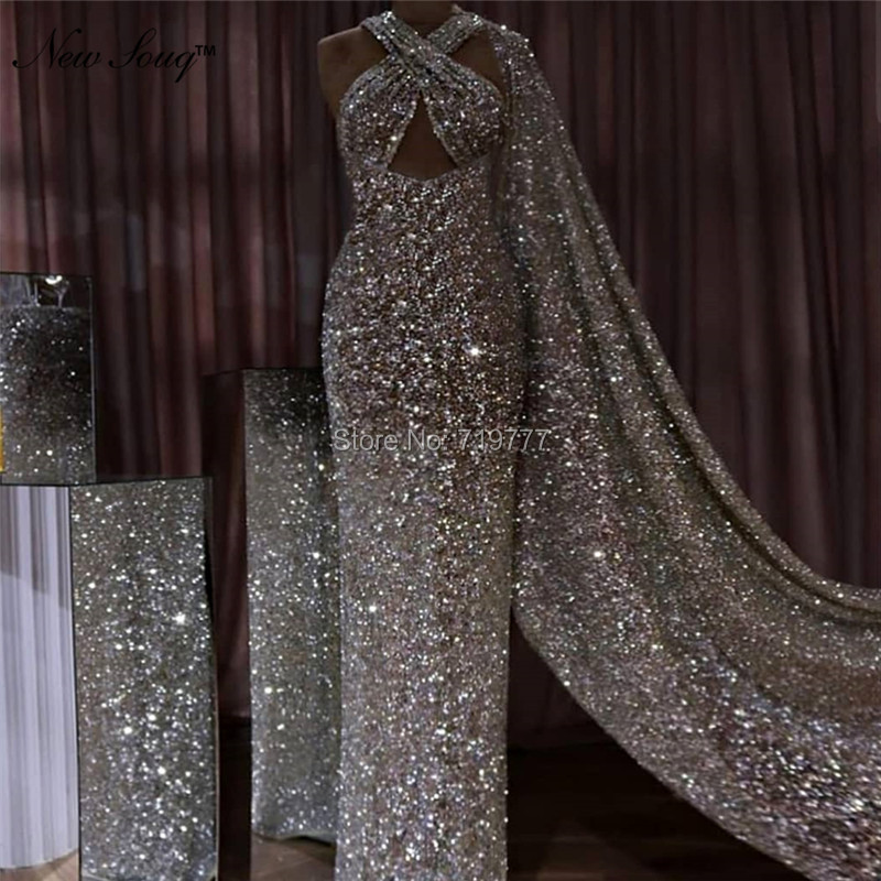 Silver Islamic Dubai Kaftan Saudi Arabic   Evening     Dresses   Backless Mermaid   Evening   Gowns Shiny Fabric Long Prom   Dress   2019 Newest
