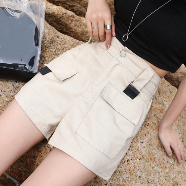 2db4d65cad5a Nueva moda mujer estilo Safari de pantalones cortos Mujer bolsillos ...