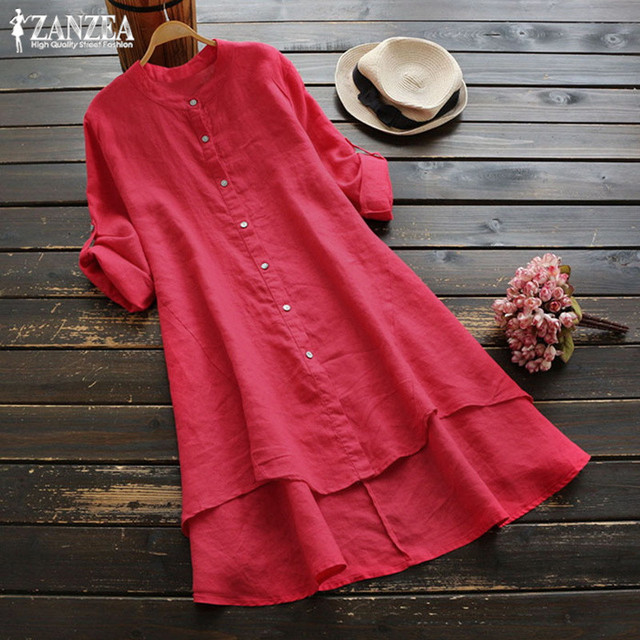 0cad02ba0a0ca 2018 ZANZEA Vintage Short Vestido Cotton Linen Long Top Women Button Down  Shirt Female High Low