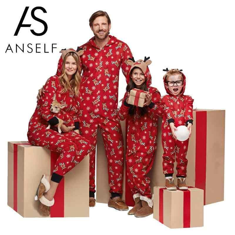 0a4d1788f587 Рождественские пижамы для всей семьи, семейный комбинезон с принтом оленя,  Рождественская одежда для сна