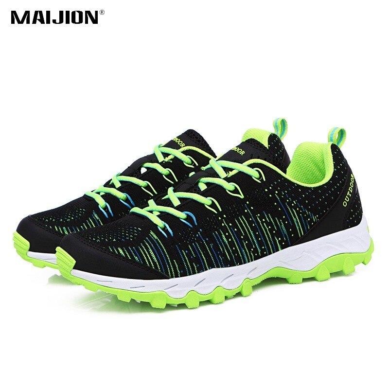 MAIJION luz fría hombres zapatos mujeres transpirable antideslizante de amortiguación zapatillas de deportes al aire libre de senderismo de encaje de zapatos zapatillas de deporte