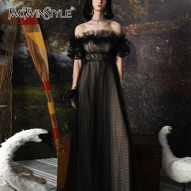 TWOTWINSTYLE Polka Dot Off Shoulder Dress Women Slash Neck Puff Sleeve High Waist Maxi Dresses Female