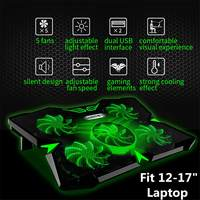12 17 Inch Gaming Laptop Cooling Pad Stand Powerful Pad with 5 Fan Laptop Cooler 2 USB Ports Fan Laptop Cooling Pad Notebook