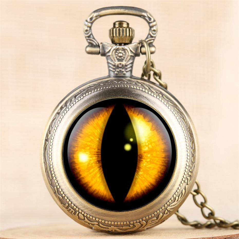 Vintage Eye Design Pocket Watch For Men Women Retro Middle Size Pendant Clock Numerals Analog Necklace Watch Children Boy Girl