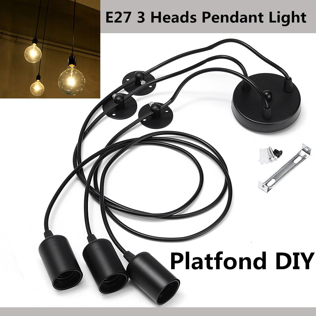 Mising Black E27 3 Heads Pendant Light Vintage Industrial Edison Ceiling Lamp Dining Lighting Retro Pendant Lamp