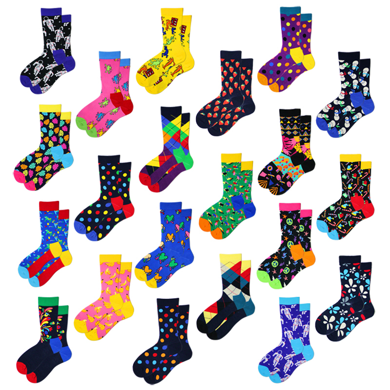 Women Socks Colorful Wave Point Happy Personality Street Style Funny Hip Hop Harajuku Skate Casual Fashion Male Cotton Socks