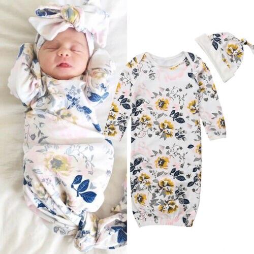 Emmababy Neugeborenen Baby Floral Swaddles Decke Schlafsack Bettwäsche Mit Hut Outfits Set