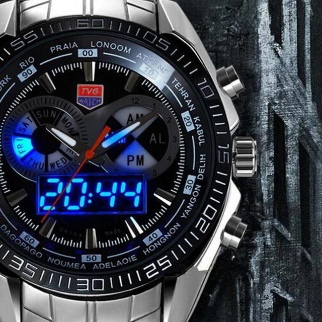 311ffe206eb Relogio masculino Marca de Luxo TVG Binário Azul LED Relógio militar Homens  de Aço Inoxidável À