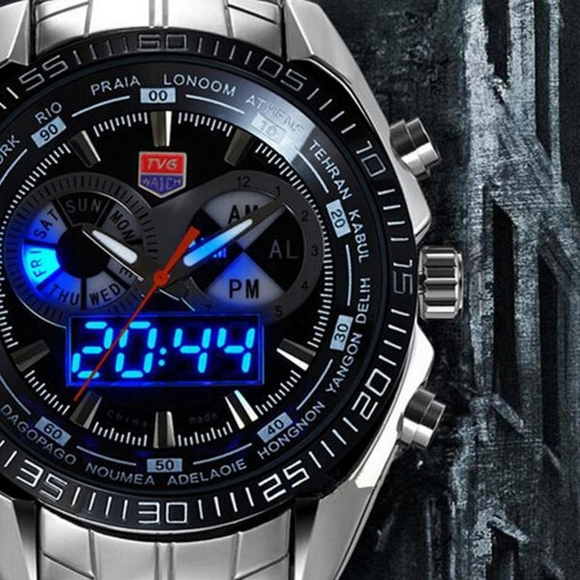 relogio masculino Luxury Brand TVG Stainless Steel Watch Men military Blue Binary LED Waterproof Mens sports Digtal Watches gift