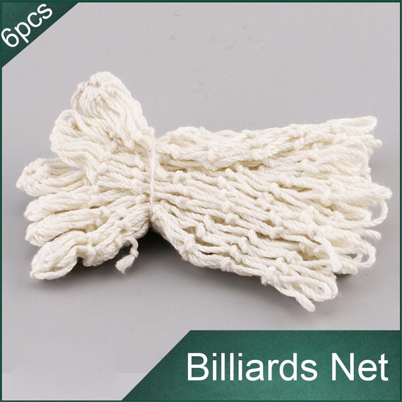 6Pcs/White Billiards Pool Snooker Table Mesh Cotton Net Bags Pockets Club Kit Professional Snooker Billiard Accessories