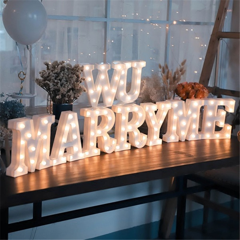 Image 2 - 16CM LED Letter Night Light Light Alphabet Battery Home Culb Wall Decoration Party Wedding Birthday Decor Valentines Day Gift-in LED Night Lights from Lights & Lighting