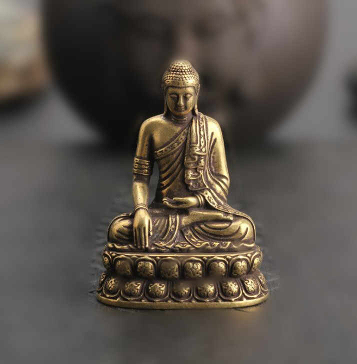 Collection Chinese Brass Carved Inch Buddha Statue Buddha Sakyamuni Lotus Exquisite Small Statues Gift