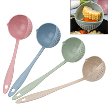 Кухонные принадлежности из пшеничной соломы, креативные дуршлаги с длинной ручкой, инструменты, ложка для супа, ложки для каши с фильтром 2 в 1