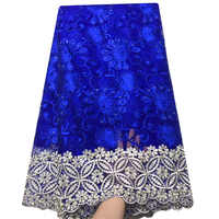 Royal blue African french tulle lace fabric 2019 high quality White Gold nigerian lace fabrics Embroidery french lace fabric
