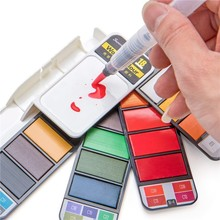 цена на 1 Set Solid Colors Creative Foldable Acrylic Watercolor Oil Paint Set Painting Drawing Art Supplies With Water Brush Pen 03168