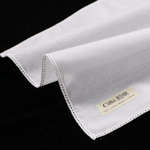 Lenço de Algodão Branco com Borda em Linha Lenços de Casamento em Branco Peças Picot Rendas Reta Mulheres – Senhoras C005: 12