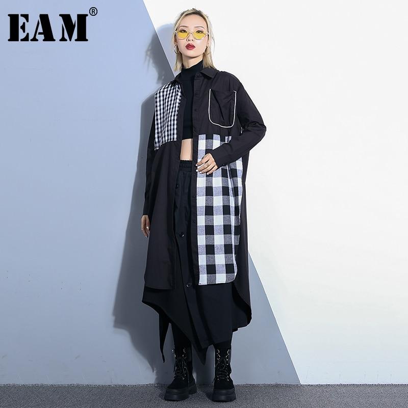 À Fendue Pour eam Commune Revers 2019 Chemise Jq184 Plaid Noir Longues De Manches Black Perdre Robe Imprimé Femmes Printemps Nouveau D'été Mode Marée rOwaOqX