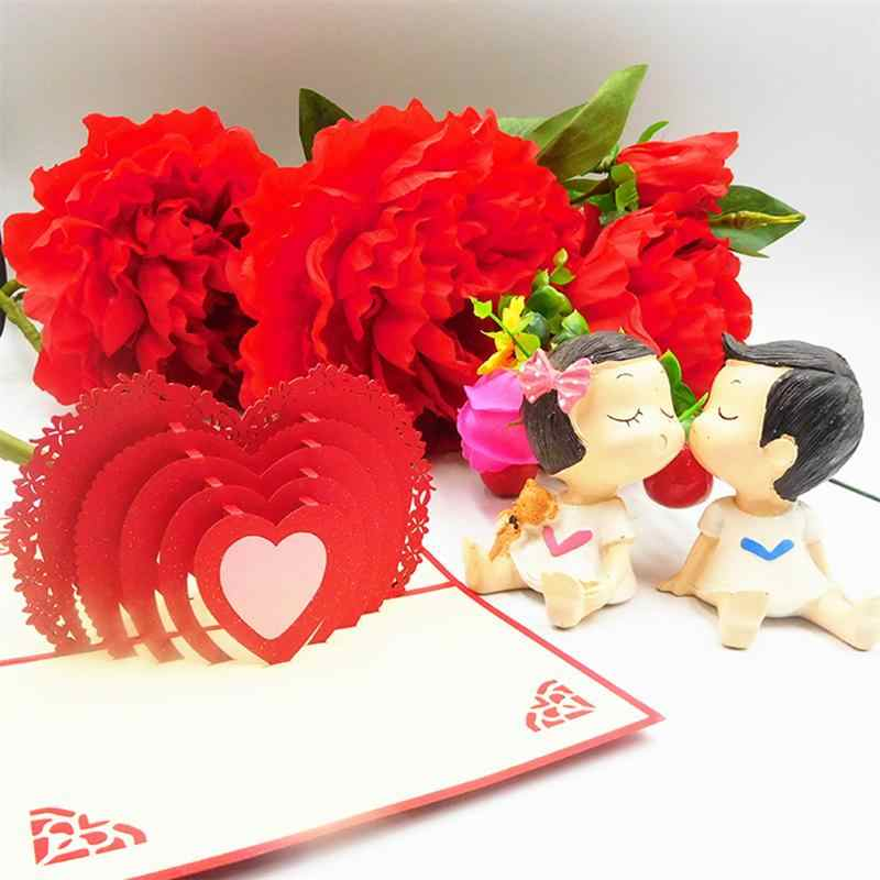 Excellent 1Pc Love Heart Romantic Pop Up 3D Handmade Greeting Cards For Personalised Birthday Cards Paralily Jamesorg