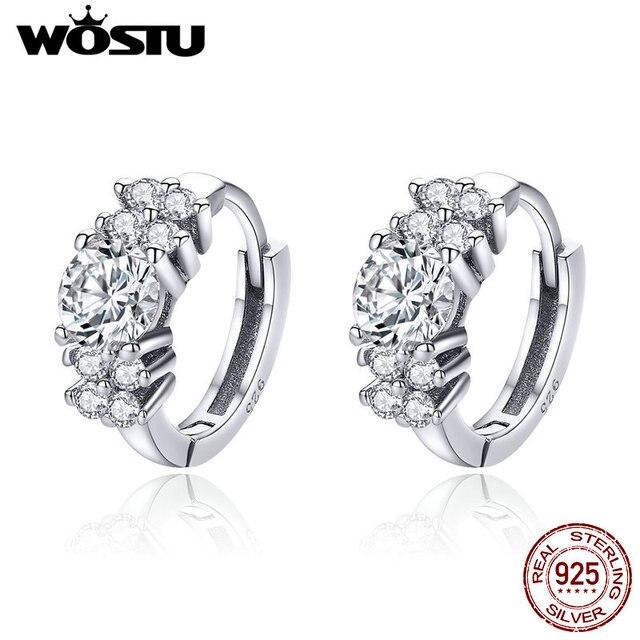 32339fe15f WOSTU Hot Sale 925 Sterling Silver Streamers Shining Petals Hoop Earrings  For Women Engagement Wedding Fashion Jewelry CQE485