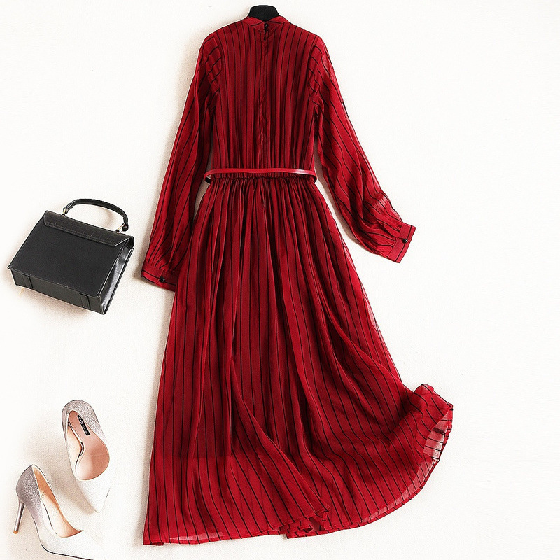 2019 Spring New Style Chiffon Dress European And American Women Fashion Long Sleeve Paneled High Waist Striped Dress in Dresses from Women 39 s Clothing