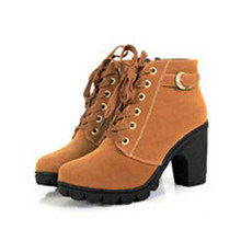 2019 Spring Winter Women Fashion Buckle Ankles Boots High Heels Zipper Lace Up Buckle Yellow Wine Red Charms Hot Martin Boots(China)