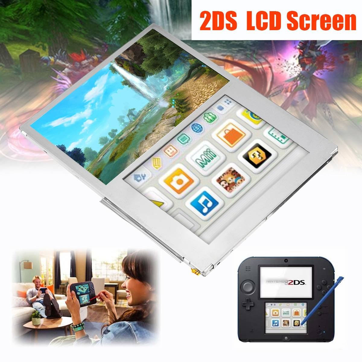LCD Screen for 2DS Display Replacement Video Games Accessories Top Bottom Upper Lower LCD Panel Only for 2DS 2013