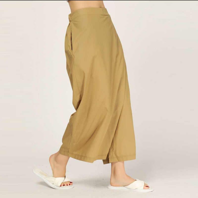 CHICEVER повседневные женские эластичные брюки с карманами в стиле пэтчворк длиной до щиколотки, женские широкие брюки 2019, модная новинка